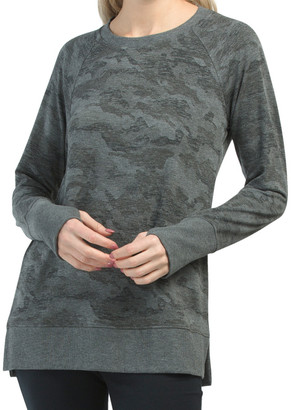 French Terry Distressed Camo Pullover Top