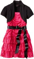 My Michelle Girls 7-16 Shirred Dress With Shrug And Front Bow
