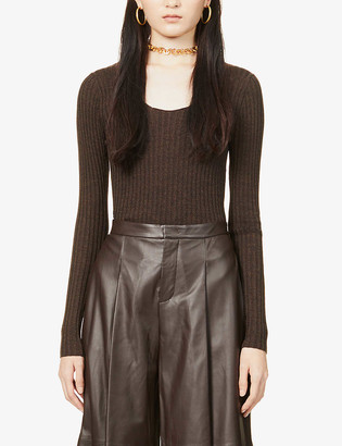 Vince Scoop-neck wool and silk-blend top