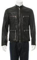 John Varvatos Leather Mock Neck Jacket