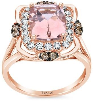 LeVian 14K Strawberry Gold Peach Morganite Solitaire Ring