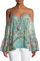 Camilla Drop-Shoulder Mixed-Print Silk Blouse