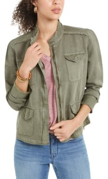 Style&Co. Style & Co Frayed-Hem Linen-Blend Jacket, Created for Macy's