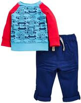 Ladybird Baby Boys Car L/s Tee And Woven Trouser Set