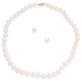 14K Yellow Gold Diamond and Pearl Necklace and Earrings Set