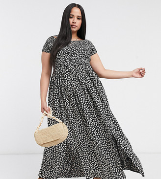 Yours floral print bardot maxi dress in black