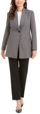 Le Suit Glen Plaid Jacket Pantsuit