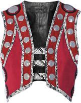 Roberto Cavalli Embellished leather and elaphe-trimmed suede vest