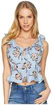 J.o.a. Sleeveless Peplum Top w/ Ruffled Collar Women's Blouse