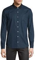 ATM Anthony Thomas Melillo Grosgrain-Collar Long-Sleeve Shirt, Navy