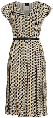 Akris Multicolor Tweed Belted Shirtdress