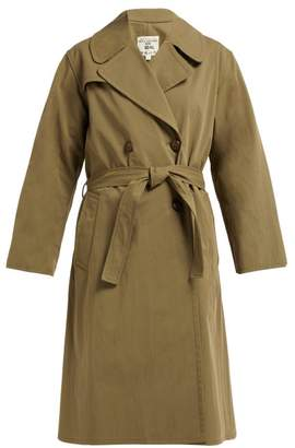 Nili Lotan Benning Double Breasted Cotton Trench Coat - Womens - Dark Green
