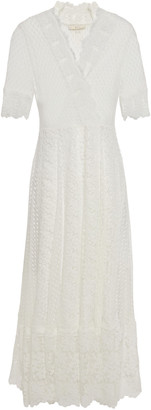 Maje Cotton-blend Point D'esprit And Guipure Lace Midi Dress