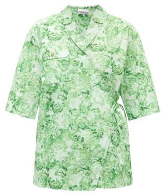 Ganni Rose-print Cotton Shirt - Green