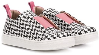 Gallucci Kids Houndstooth Sneakers with Pink Details