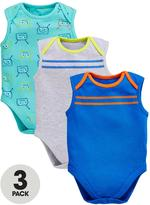Ladybird Baby Boys 3pk Bug And Stripe Sleeveless Bodysuits
