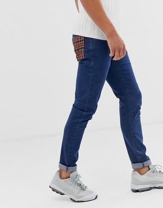 Le Breve check back pocket jeans-Blue