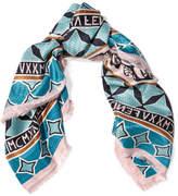 Fendi Fringed Printed Silk-twill Scarf - Blue
