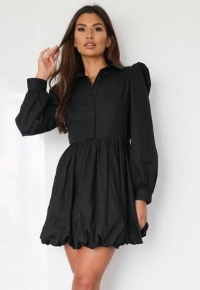 Missguided Black Puff Hem Shirt Dress