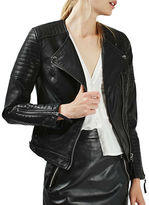 Topshop Nelly Quilted Faux Leather Biker