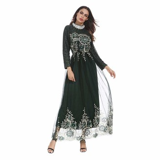 Haodasi Women Muslim Robe Dress - Islamic Kaftan Middle East Maxi Dress Long Sleeve Abaya Evening Gown Lace Bridesmaid Dress Green