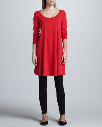 Joan Vass Scoop-Neck Long-Sleeve Tunic, Petite