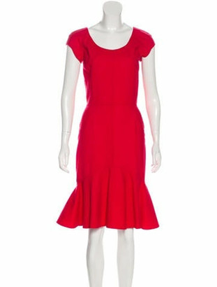 Oscar de la Renta Wool Knee-Length Dress w/ Tags Red