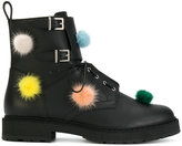 Fendi pom pom boots - women - Leather/Polyester/rubber - 35