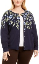 Karen Scott Plus Size Cascade Floral-Print Cardigan Sweater, Created for Macy's