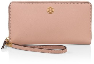 Tory Burch Robinson Zip-Around Coated Leather Wallet