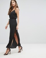 Goldie Long Island Square Dot Printed Maxi Slip Dress With Side Splits And Waist Tie