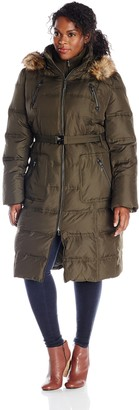 Kensie Outerwear Women's Long Maxi Down Coat with Fur Trim Hood