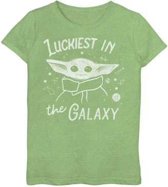 Star Wars Girls 7-16 The Mandalorian The Child aka Baby Yoda Luckiest In The Galaxy Graphic Tee