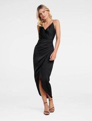 Forever New Tilly Satin Midi Dress - Black - 10