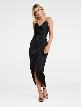 Forever New Tilly Satin Midi Dress - Black - 6