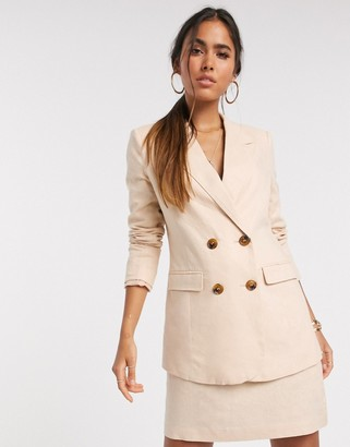 Vero Moda linen double breasted blazer in peach