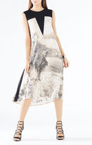 BCBGMAXAZRIA Becka Dreamscape Print-Blocked Dress