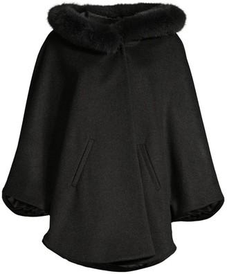 Sofia Cashmere Fox Fur Trim Cashmere & Wool Poncho Jacket