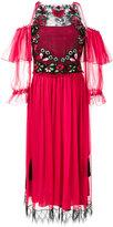 Alberta Ferretti embroidered ruffle cold-shoulder dress
