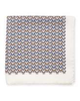 Eton Bulldog-Print Silk Pocket Square