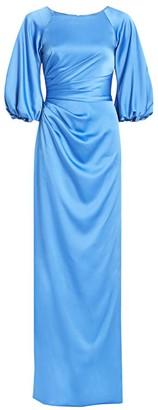 Theia Balloon-Sleeve Satin Gown