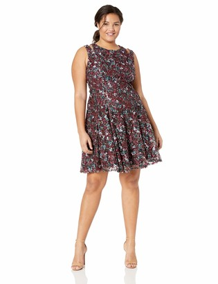 Gabby Skye Women's Plus Size Sleeveless Lace Fit and Flare Dress with Cut Out