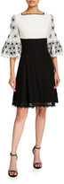 N. Shani Colorblock Fit-&-Flare Lace Dress with Floral Sleeve Applique