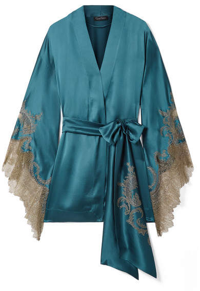 Carine Gilson Chantilly Lace-trimmed Silk-satin Robe - Petrol