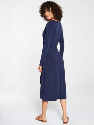 Very Midi Wrap Three Quarter Sleeve Dress - Navy