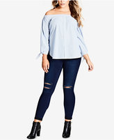 City Chic Trendy Plus Size Cotton Off-The-Shoulder Top