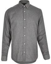 River Island Grey Smart Flannel Long Sleeve Shirt