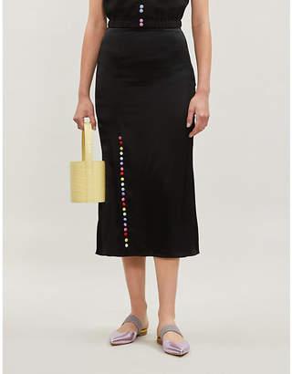 Olivia Rubin Hanna high-waisted silk-satin skirt
