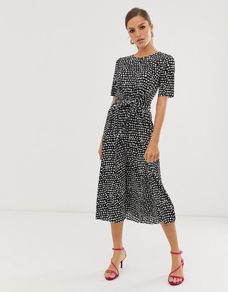Asos DESIGN midi tie waist plisse dress in mono spot