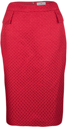 Carolina Herrera Red Textured Pencil Skirt M